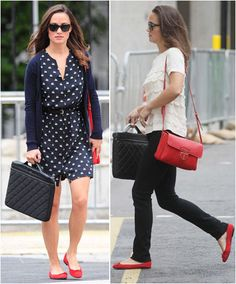 red shoes + red bag - pippa middleton