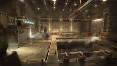 ArtStation - Concept Art - Sci-fi staging area inside a spaceship, Galan Pang