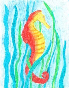 Chalk Pastel Tutorial- Seahorse slideshow from Sketch Tuesday.