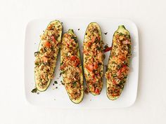 Herb-Stuffed Zucchini - 8 (use the Tuscan olive oil next time or add Italian seasoning to add a punch more flavor)
