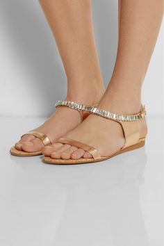 Heel measures approximately inches Bronze faux leather Crystal-embellished trim, cork footbed, open almond toe Buckle-fastening ankle strap Stella Shoes, Stella Mccartney, Beach Wedding Shoes, Kinds Of Shoes, Leather Sandals, Flat Sandals, Pumps, Heels, Buy Shoes