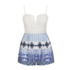 Ally Fashion China blue print crochet bust playsuit ($32) ❤ liked on Polyvore featuring jumpsuits, rompers, print, white romper, print romper, white rompers, playsuit romper y patterned romper