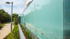 Opaque glass balustrade for building. Glass Balustrade, Curved Glass, Facade, Concrete, Building, Design, Buildings, Facades