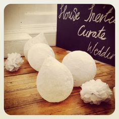 House Inertia curates weddings - small and mini paper poms and out exquisite lace poc-pocs.
