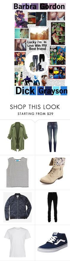 """""""Barbra Gordon and Dick Grayson"""" by karabear3256 ❤ liked on Polyvore featuring Seed Design, Garcia, H&M, M.i.h Jeans, Charlotte Russe, Bonobos, AMIRI, Vans and Xuella Arnold Jewellery"""