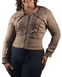 Ruched bust and sleeve top in taupe at J. Nicole.