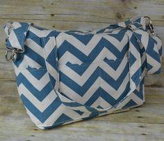 Denim Chevron stripe Women's Purse Made in the USA / Darby Mack / Slub cotton upholstery/ Messenger strap / the  Alyce market tote in stock