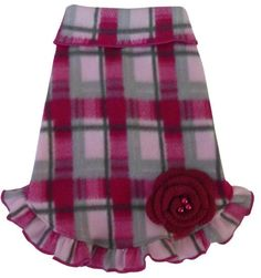 Cozy Fleece Pink/Gray Plaid Pullover Ruffled Skirt Tank Dress with Flower Pin