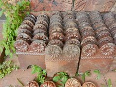 ANTIQUE Vintage TERRACOTTA GARDEN EDGING TILES Approx.50 - RARE