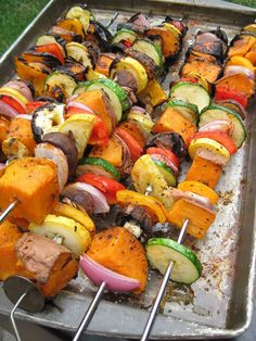 15 Meatless Kabob Recipes for Your Summer Grilling  http://www.rodalewellness.com/food/15-meatless-kabob-recipes-for-your-summer-grilling