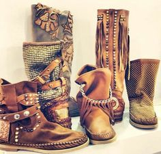 My taste in style for sure. Would wear any and all of these boots! Karma of Charme boots - hand made - Made in Italy Karma, Style Board, Boho Shoes, Ibiza Fashion, Women's Fashion, Look Boho, Moccasin Boots, Cute Sandals, Sexy Boots