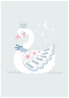SWAN PRINT A4 Swan Illustration Swan wall art swam by TheInkHouse