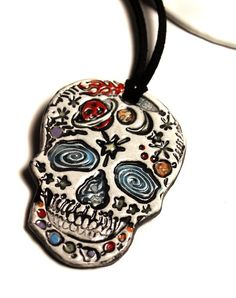 Space Day of the Dead Skull Ceramic Necklace by surly on Etsy, $22.00