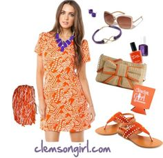 Clemson Girl Gameday Look - Gameday Gorgeous Clemson Shirts, Cute Games, Studded Sandals, Clemson Tigers, Looking Gorgeous, What To Wear, Girls Dresses, College Football, Nifty