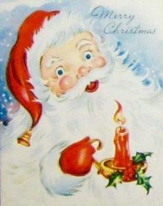 Vintage Santa. Merry Christmas. Santa with Candle. Vintage Christmas Card. Retro Christmas Card.