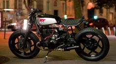 La Parisienne by the Paris base custom motorcycle shop Blitz Motorcycles is a 1984 BMW R100 RT1 upon which aYamaha XT 500 petrole tank was installed.