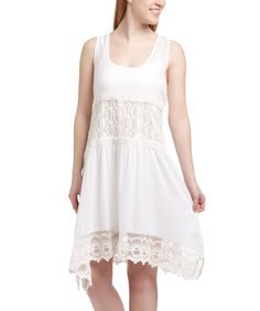 Love this White Crochet Sleeveless Tunic by Blue Island on #zulily! #zulilyfinds