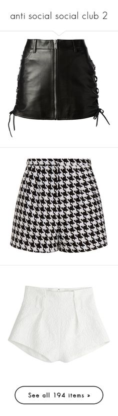 """""""anti social social club 2"""" by the-90s-club ❤ liked on Polyvore featuring skirts, mini skirts, bottoms, saias, faldas, short leather skirt, high waisted mini skirt, lace up skirt, high-waisted skirt and high-waist skirt"""