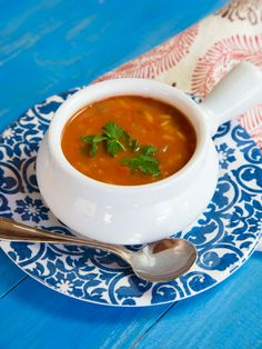 Tomato Rice Soup Recipe - Dairy-Free Vegan Tomato Soup with Basmati Rice, Herbs and Spices.