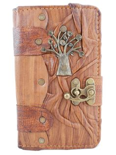 Samsung Galaxy Note 3 Handmade Leather  case cover with Tree  pendant in Brown by Smyrnacrafts on Etsy