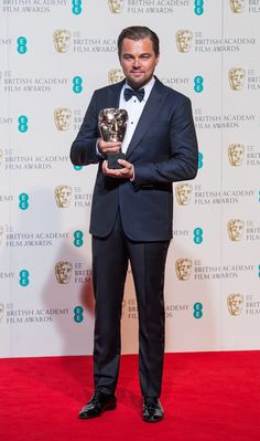 #LeonardoDiCaprio wore a #GiorgioArmani tuxedo to pick up his first BAFTA, the Leading Actor award, for 'The Revenant'. #EEBAFTAs.