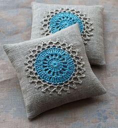 Lavender sachets crochet motif set of 2 darker linen by namolio, via Etsy. Crochet Home, Love Crochet, Crochet Crafts, Crochet Projects, Knit Crochet, Crochet Cushion Cover, Crochet Cushions, Crochet Pillow, Crochet Motifs