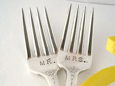 Vintage Mr. and Mrs. Wedding Cake Forks, Dessert or Dinner Silverplated Hand Stamped Table Settings Bride Groom