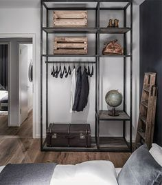 10-industrial-style-closet-designs-that-youll-love-10 10-industrial-style-closet-designs-that-youll-love-10 Masculine Apartment, Spacious Living Room, Loft Style, Hall Furniture, Building Furniture, Modern Furniture, Wardrobe Rack, Bedroom Pictures, Industrial Design Furniture