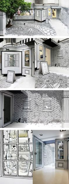 "A shop window project by Daizy Gallery for ""ARTIFACTS"" anniversary, a multi-brand boutique. …tra illustrazione e realtà."