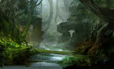 """Guild Wars 2"" environmental concept art by Kekai Kotaki (© 2012)."