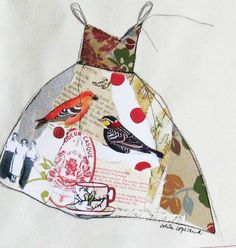 Original collage on paper, Tea Party Dress, ColetteCopeland $38 #etsy