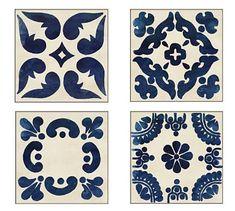 Indigo Tiles Framed Prints, 19 x Set of 4 at Pottery Barn Pottery Barn Wall Art, Pottery Art, Paint Photography, Mirror Art, Mirrors, Framed Prints, Art Prints, Floral Prints, Canvas Prints