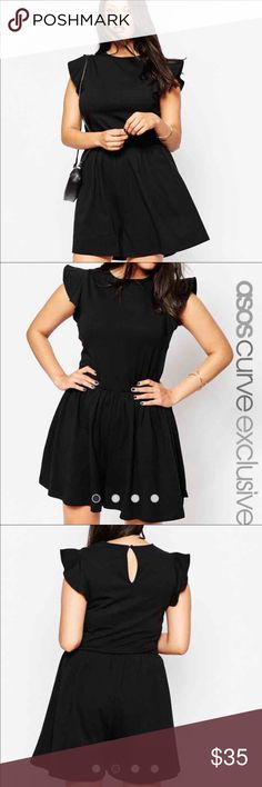 ASOS CURVE Romper with Frill Sleeve Black romper size 16 Brand new, never been worn ASOS Curve Dresses