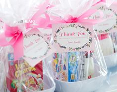 Darling party favors for a PJ party -- bowl, cereal, and milk.