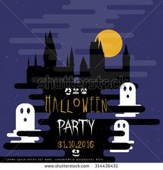 Halloween party invitation card. Castle with ghost in night. Modern flat illustration, vector.