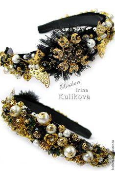 Купить Ободок и серьги в стиле Барокко (Дольче Габбана) - золотой, ободок для волос