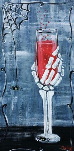 Death of wine Halloween Canvas Paintings, Fall Canvas Painting, Halloween Painting, Autumn Painting, Halloween Art, Easy Paintings, Diy Painting, Painting & Drawing, Canvas Art