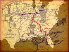 Bilbo vs Frodo and Sam. United States for Distance comparison. (Not mine, but thought you'd guys would appreciate it) : lotr