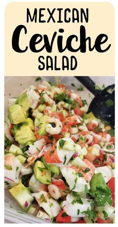 Mexican Ceviche Salad – Dude, That's Dope Salade de ceviche mexicaine – Mec, c'est la Dope Authentic Mexican Recipes, Mexican Salad Recipes, Mexican Snacks, Mexican Salads, Fish Recipes, Seafood Recipes, Cooking Recipes, Mexican Desserts, Freezer Recipes