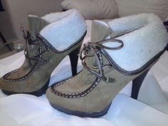 Womens High Heeled Timberland Style Platform Fur Trimmed Boots Size 10 #Timberland #PlatformsWedges