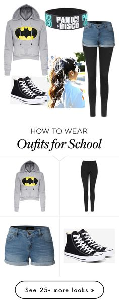 """middle school look"" by nopelolol on Polyvore featuring Topshop, LE3NO and Converse"