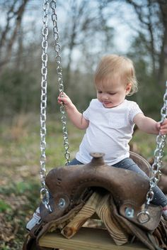 Amelia on the Saddle Swing Saddle Swing, Horse Swing, Saddle Chair, Saddle Rack, Backyard Playground, Backyard For Kids, Pony Saddle, Horse Saddles, Western Saddles