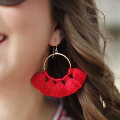 #gamedaystyle made easy with @lisilerch! These #gameday earrings are perfect for tailgating or cheering from the stands. Follow the link in my bio to read more and see the full look! (Shop this look with @liketoknow.it http://liketk.it/2tm3b #liketkit) #razorbacks #wps #lisilerch #statementearrings #tassels