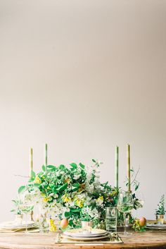 A Blossoming Easter Tablescape - http://www.stylemepretty.com/living/2014/04/17/a-blossoming-easter-tablescape/