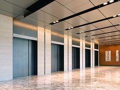 タワー1階ロビー Hall Hotel, Elevator Lobby Design, Corridor Design, Nagasaki, Stone Texture, Interior Walls, Ceiling Design, Tile Patterns, Entrance