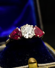 Art Deco 1.71 Carat Cushion Cut Diamond & Ruby Three-Stone Engagement Ring