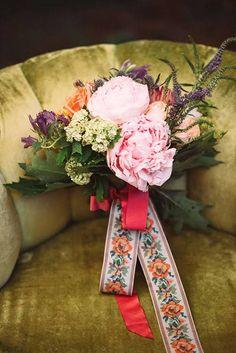 Woodland Wedding Inspiration, Pink Peony Bouquet with Ribbon