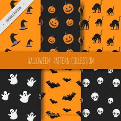 Six fantastic patterns for halloween Free Vector