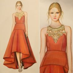 Marchesa Fall 2016, fashion illustration by Trudi Fraser