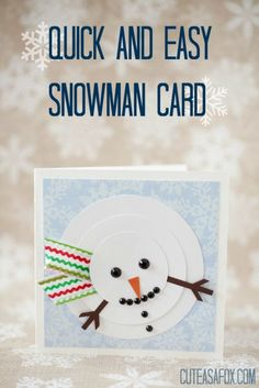 Quick and Easy Snowman Card - Download a PDF, SVG, or STUDIO template and make your own snowman card in a flash.